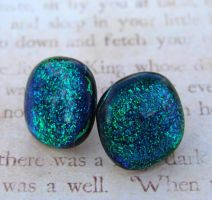 Emerald and Blue Glass Earring by FusedElegance