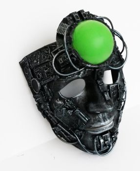 cyberpunk borg style led light up mask. by richardsymonsart