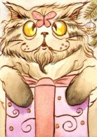 ACEO Cat in Xmas by vrm1979