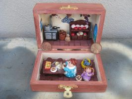 Polymer clay diorama Italian meal by SelloCreations