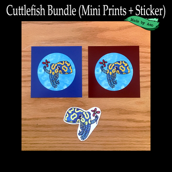 Cuttlefish print and sticker bundle by SPPlushies