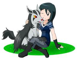 Laine and Mightyena + Bio by BlazingSoul96