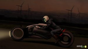 Eva Gates Riding Solar Powered Motorbike by HalHefnerART