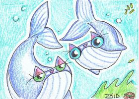 Funny cats are blue whales ACEO by KingZoidLord