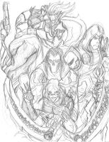 The Four Riders and Their Servant by Macabrecabra