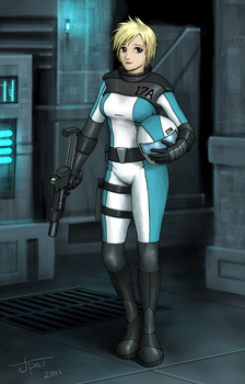 Anime Girl Sci-Fi Starfighter Pilot with Gun by jdp89