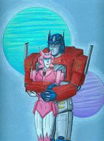 Optimus and Elita by trans-fan917