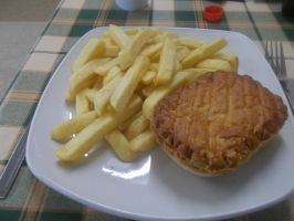Steak and Kidney pie and chips by FFDP-Korpiklaaniguy