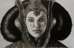 Natalie Portman as Queen Padme Amidala - Charcoal by ShannonEM