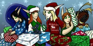 Christmas Elves - Wrapping Presents by auryanne