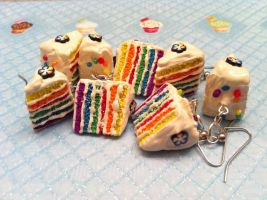 Fancy Rainbow Cake Earrings by KatGore