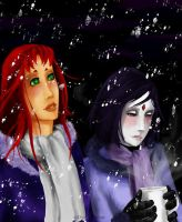 Starfire and Raven In The Snow by CeciliaSal