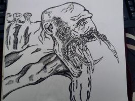 Necromorph Pen Drawing Updated by NebulonB100