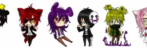 FnaF Chibis by xRequilein