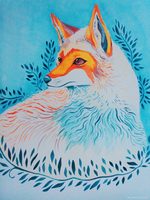 Red Fox Watercolor Painting by TotemEye