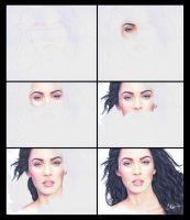 Megan Fox-Drawing Process by Live4ArtInLA