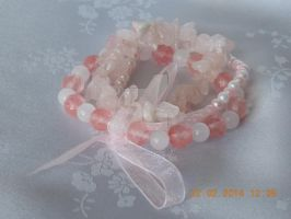 Pink and white stretch bracelet by Quested-Creations