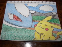 Latios and pikachu by Strataforce12