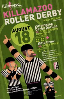 Killamazoo Derby Poster AUGUST 2012 by PaulSizer