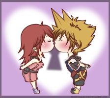 Sora and Kairi Chibi Kisses by Beastwithaddittude