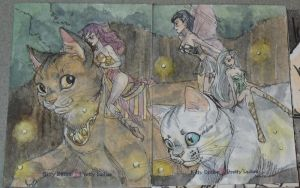 Kitty Ditties and Pretty Ladies Fairy Cats by AmberStoneArt