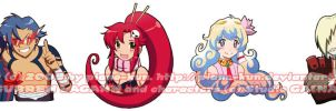 Gurren Lagann chibi stickers by greenglassesgirl