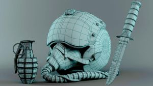 3D Military Stuff-Pilot Helmet,Grenade,USMC. Wire by cytherina