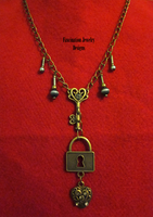 Brass Lock - Key Necklace by BloodRed-Orchid