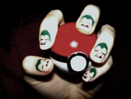 Snorlax nails by Chelseapoops
