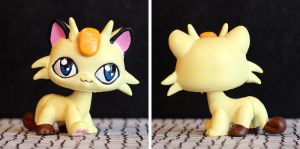 Meowth Littlest Pet Shop custom by pia-chu