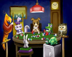 Pets Playing Poker by RK-d