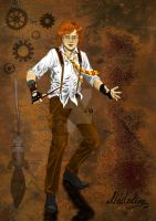 Ron Weasley. Steampunk Style. Coloured by MadelineSlytherin