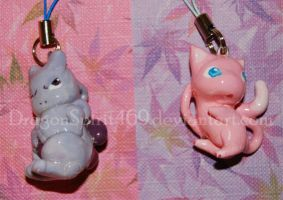 Mew and Mewtwo Charms by DragonSpirit469