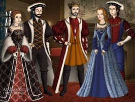 AU King Francis I with his sons and their wives by TFfan234