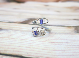 Adjustable Purple Wire Wrapped Ring by lovebirdcreations