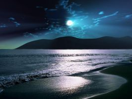 Tranquility Beach Moonrise by esheafer