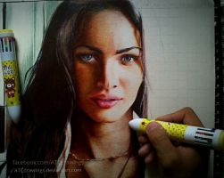 Megan Fox Ballpointpen Drawing by ATCdrawings