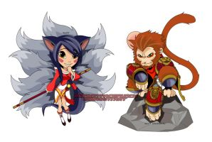 Ahri and Sun Wukong Coloured by monkeyfacepunch