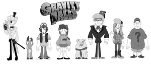 Gravity Falls in Mystery Skulls GrayScale by pokebudy29