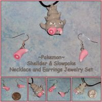 Pokemon - Slowbro Necklace Slowpoke Tail Earrings