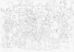 Mario Group Sketch by Tails19950