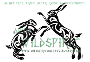 Boxing Hares Tribal Tattoo by WildSpiritWolf