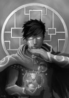 Jace, Mind's Sensei (black and white) by Chaudbrush