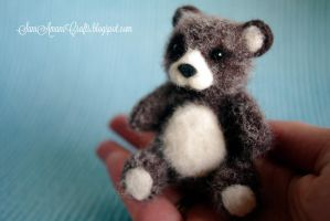 Needle felted miniature brown teddy by SaniAmaniCrafts
