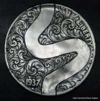 Hand Engraved Ornate Scrollwork Buffalo Nickel by shaun750