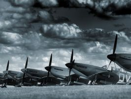 Spifire Line Up - Duxford by davepphotographer