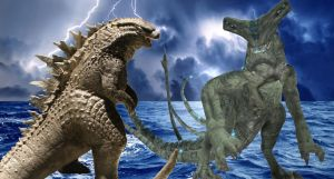 Godzilla 2014 VS Slattern by sonichedgehog2