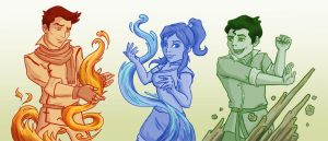 Mako - Korra - Bolin by blackbirdrose