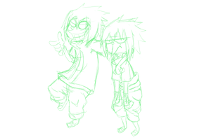 Normal sasuke and rtn sasuke:eene style wip by itasasu2002