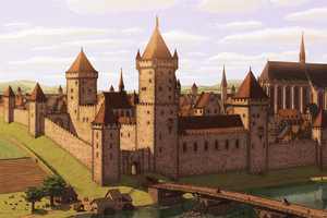Castle at the riverside by Limeknight